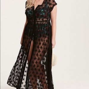 Black Lace Crochet Maxi Cover Up